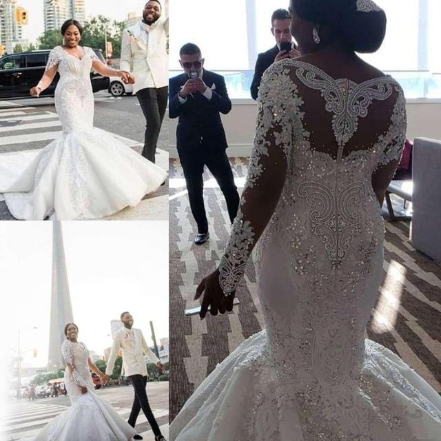 Châu Phi Tuyệt Đẹp Plus Kích Thước Áo Váy Ren Appliques Đính Hạt Pha Lê Cổ V Nàng Tiên Cá Áo Cưới Tay Dài Cô Dâu Đồ Bầu