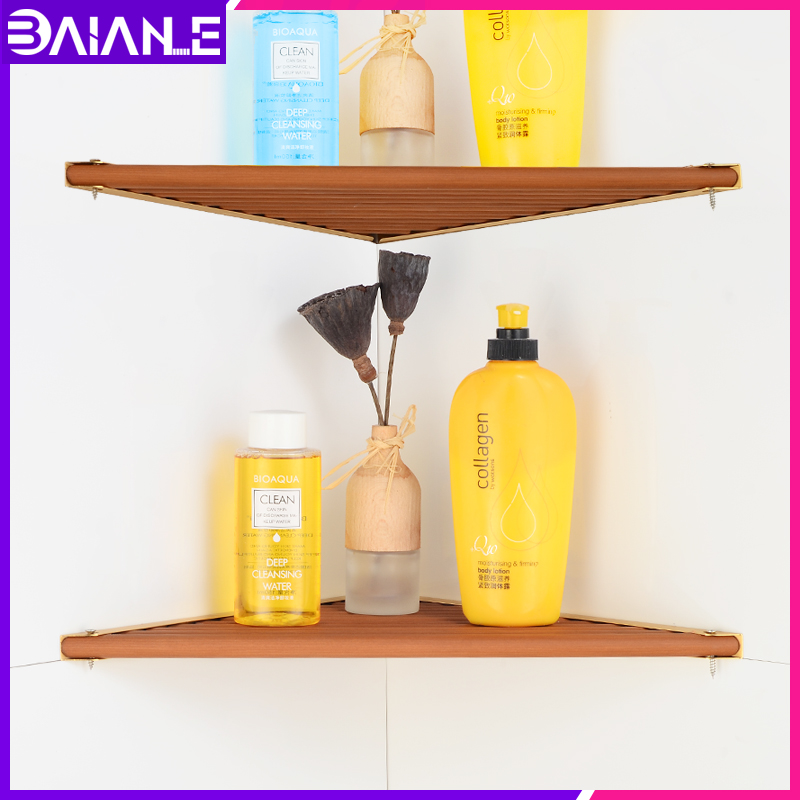 Bathroom Shelf Organizer Shower Rack Aluminum Wood Corner Caddy Shampoo Storage Holder Shelves Bathroom Accessories Wall Mounted in Bathroom Shelves from Home Improvement