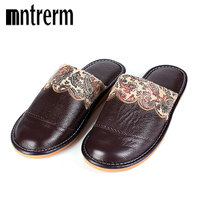 Mntreem 2017 Winter Warm Home Slippers Men Women Couple Genuine Cow Leather Pantufas Wool Plush Man