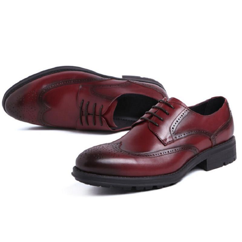 De Negócios Escritório Vestido Genuínos Scarpe Vinho Northmarch Formal Casamento Do Homens Oxford Preto Couro Preto vermelho Brogue Lace Up Festa Sapatos Italiano qqwZaA