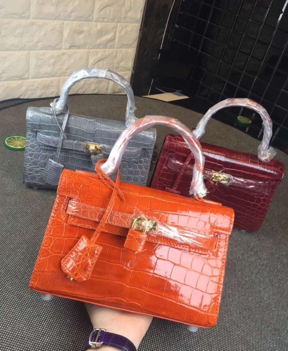 Shouder-Bag Crocodile-Skin Orange-Color Bag-Handle Shinny Luxury-Quality Women Genuine