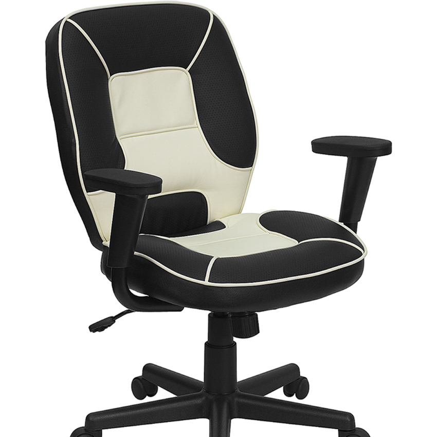 Flash Furniture Mid-Back Vinyl Steno Executive Office Chair [863-BT-2922-BK-GG]