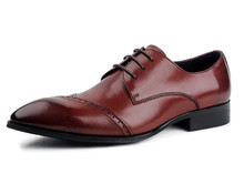 Free shipping  wine red / black formal oxfords mens dress shoes genuine leather business shoes mens wedding shoes