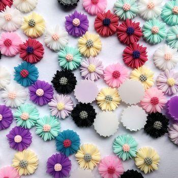 Bricolaje 10mm Color doble plana 3D de resina Cabochons de La Flor Cameo para pendiente o pulsera DIY encontrar 60 uds-Z71A