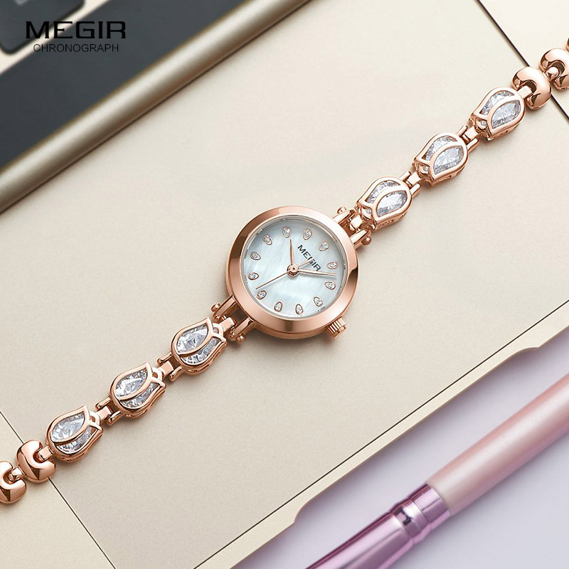 Megir Ladies Quartz Watches With Brass Bracelete Strap Girls Simple Fashion Waterproof Analogue Wristwatch For Women 4198L