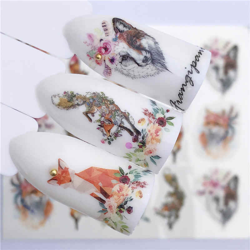 YWK 1 Sheet Water Transfer Nail Stickers Decals Green Leaf / Colored Flower Pattern Nail Art Stickers Wraps Manicure Decoration