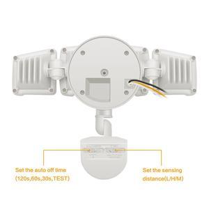 Image 2 - 230V שלושה ראש שמש אור רדאר חיישן זרקור עמיד למים בחוץ שמש גן אור סופר בהיר חצר מבול מנורת LED