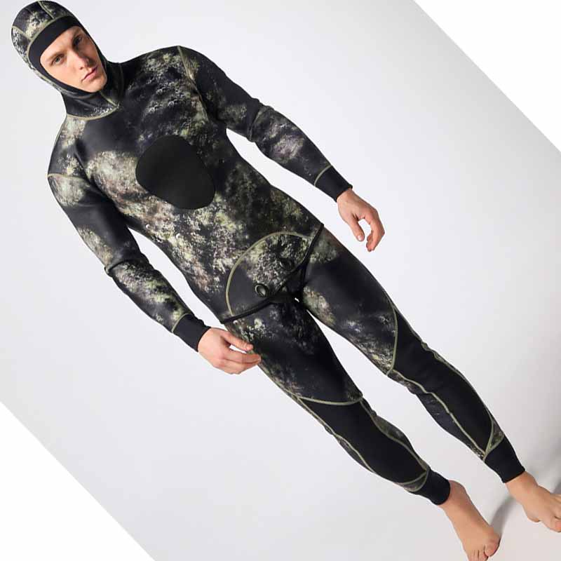Hommes épaissir 3mm deux pièces camouflage plongée costume de plongée en apnée chaud surf hiver natation costume avec casquette vêtements de pêche