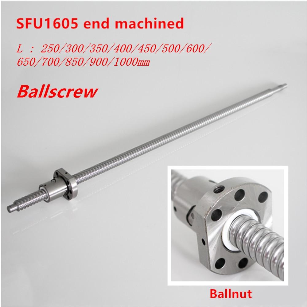 Ballscrew SFU1605 250 milímetros 300 350 400 450 500 600 650 700 900 1000 1200 1500 milímetros w Bola Ballnut parafuso RM 1605 Final Usinado CNC