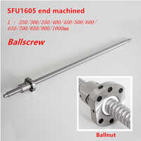 Ballscrew SFU1605 250 milímetros 300 350 400 450 500 600 650 700 900 1000 1200 1500 milímetros w Parafuso Bola Ballnut RM 1605 Final Usinado CNC