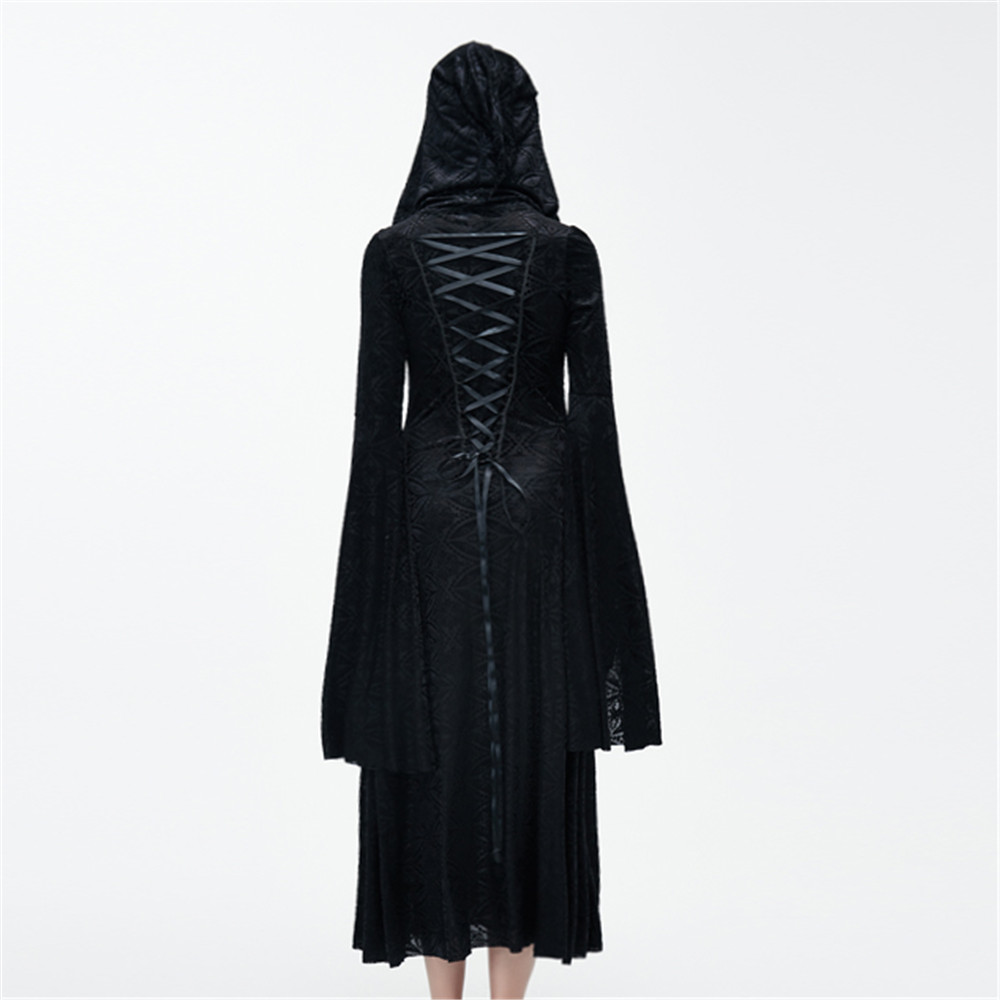 Vestiti Lungo Gotico Pizzo Holloween Abito Hoodies Di Strega Stampato Costumi Donne Black Sacerdotessa Vestito Steampunk Delle Casuali w1xqPq0T