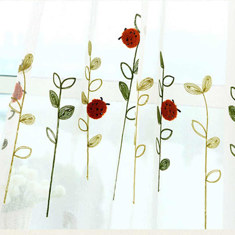 Pastoral Children Study Flax Curtain Fabrics Cartoon Embroidered Red Ladybug Curtains For Living Room Window Full Shade AP121-20