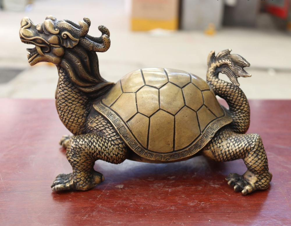 Chine FengShui Bronze cuivre richesse argent YuanBao Dragon tortue Statue