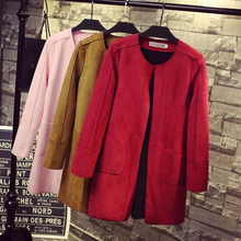 2018 Casual Long Solid Faux Suede Women's Trench Girls Frosted Open Stitch Cardigan Long Sleeve Cardigan Outerwears Tops Cloth