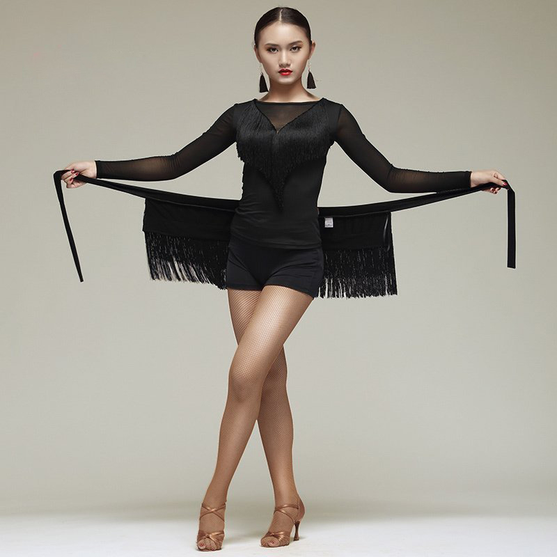 New Latin Dance Skirt Women Tassels Apron Costume Training Hip Scarf Cha Cha Samba Dancing Waist Towel Latin Accessories DN1191
