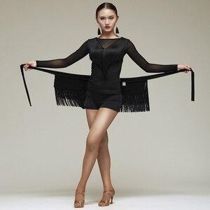 Image 1 - New Latin Dance Skirt Women Tassels Apron Costume Training Hip Scarf Cha Cha Samba Dancing Waist Towel Latin Accessories DN1191