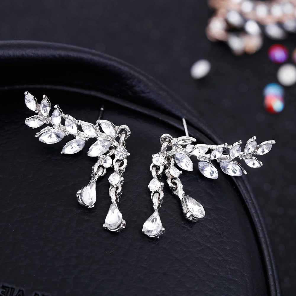 ใหม่แฟชั่น Angel ปีก Dangle ต่างหูคริสตัลน้ำ DROP ต่างหูสำหรับผู้หญิง Rhinestone Leaf tassel DROP Earrings