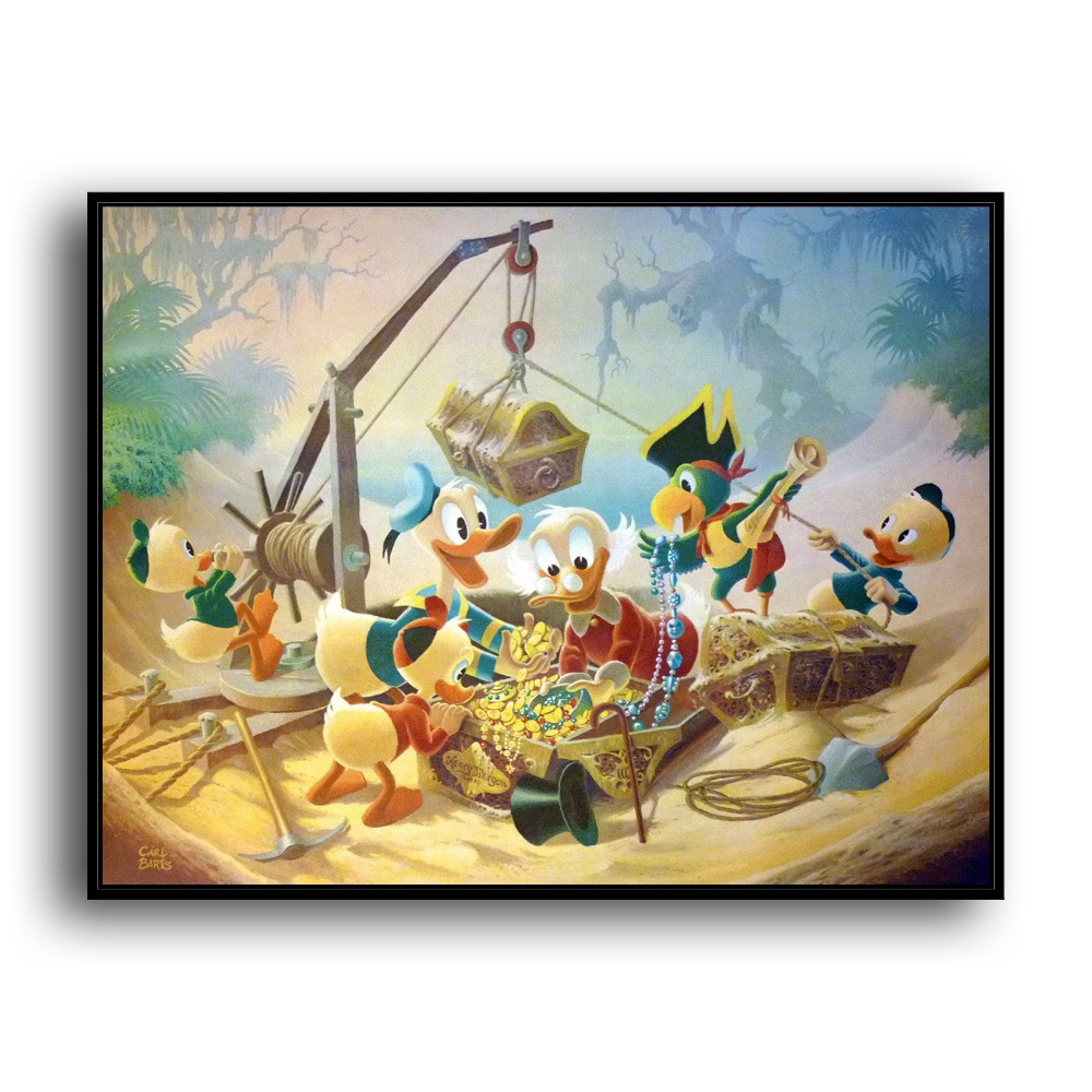 H2042 Scrooge McDuck Donald Duck Animal Cartoon .HD Canvas Print Home decoration Living Room bedroom Wall pictures Art painting