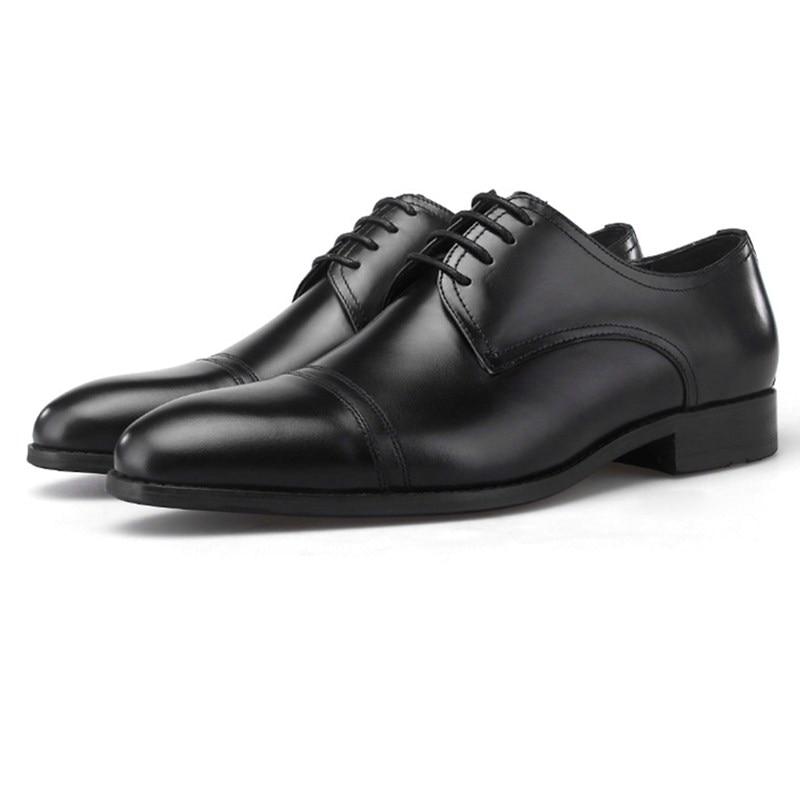 Mode noir/marron Tan robe de mariée chaussures en cuir véritable Oxfords hommes chaussures d'affaires - 3