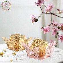 50 шт. бабочка обертки для шоколада вечерние сувениры шоколадные чашки обертка коробка конфет бар Шоколадный Бар Свадебные и вечерние украшения