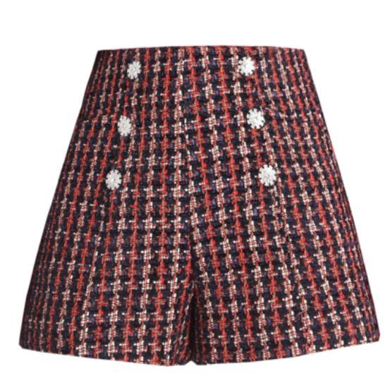 Automne nouvelle mode six boutons boucle Slim a-ligne courte jupe épaisse tweed plaid mini jupe