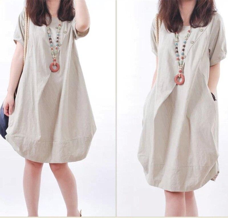 1797a2c53a Womens Linen Dresses 2015 Fashion Summer Casual Loose Plus Size Dress Women  Nutural Linen Dresses Female Short Sleeve vestido