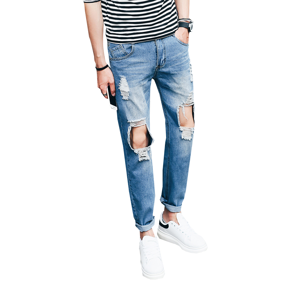 Men's fashion vintage washed holes ripped biker jeans Slim straight stretch denim pants Long trousers N-ZK050 2017 new men s fashion vintage zipper patch hole ripped biker jeans slim straight stretch denim pants long trousers
