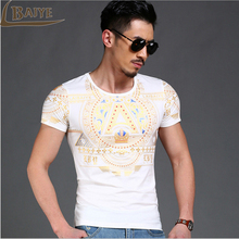 TBAIYE 20017 Fashion Luxury New Casual Cotton T shirt Men brand slim short sleeve  printed male t shirt tops Men's Clothing
