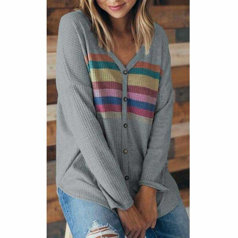 28637d2d09bd1 ... Women Waffle Knit Tunic Blouse Tie Knot Henley Top Loose Fitting Bat  Wing Plain Shirt Button