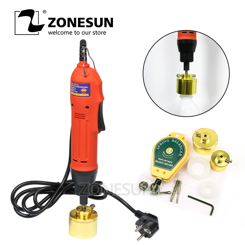 ZONESUN Large torque Capping Machine handheld electric sealing bottle lid tightener for screwing cap screw capper plastic bottle 10 50mm diameter portable pneumatic capping machine screw capping machine plastic bottle capper cap screwing machine