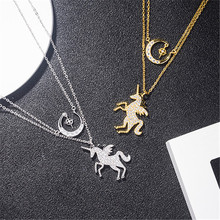 18k,rose gold, silver color horse and moon layered charm custom nameplate necklace jewellery for women