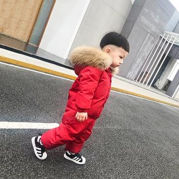 Russian Winter Infant Snowsuit Real Raccoon Fur Thick Warm Newborn Romper Duck Down Hooded Toddler Boys Girls Ski Suit Snow Wear