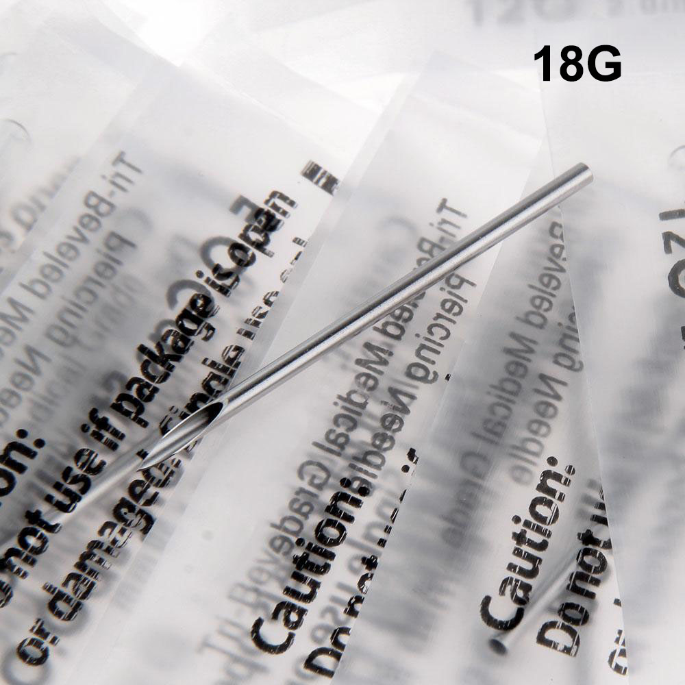 100PC 18G Disposable Tattoo Sterile Body Piercing Needles 18G With Box For Ear Nose Navel Nipple Free Shipping BN-18G