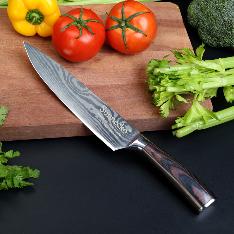SUNNCKO 8 inci Chef Kitchen Knife Cook Knives Mengempelas Stainless Steel Blade Laser Corak Pakka Wood Handle Chef's Gift Knife