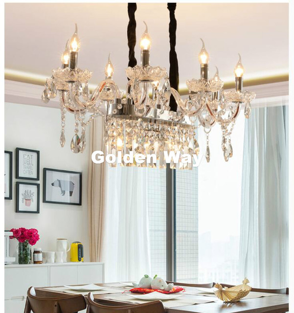 Modern Gold Led Chandelier Lighting Fixture Crystal