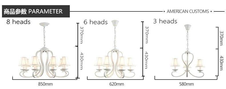 White Fabric Shade Iron Chandelier Lighting Fixtures Luminaria ...