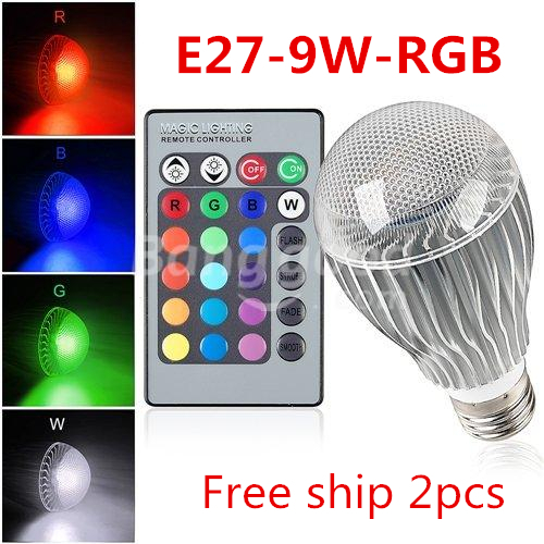 Free shipping 2 pcs/lot E27 RGB LED Lamp 9W AC110V 220V 85-265V led Bulb Lamp with Remote Control multiple colour led lighting e27 e14 rgb 5w 10w ac85 265v led bulb lamp with remote control multiple colour rgb led lighting