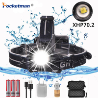 New 50000LM XHP70 2.0 Headlamp Zoom Headlamp Rechargeable Torch Waterproof Light Lantern Flashlight with 18650 Battery USB Cable