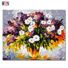 WEEN White Little Flower Pictures By Numbers DIY Digital Vase and Wall Oil Painting Canvas Art For Home Artwork 2017