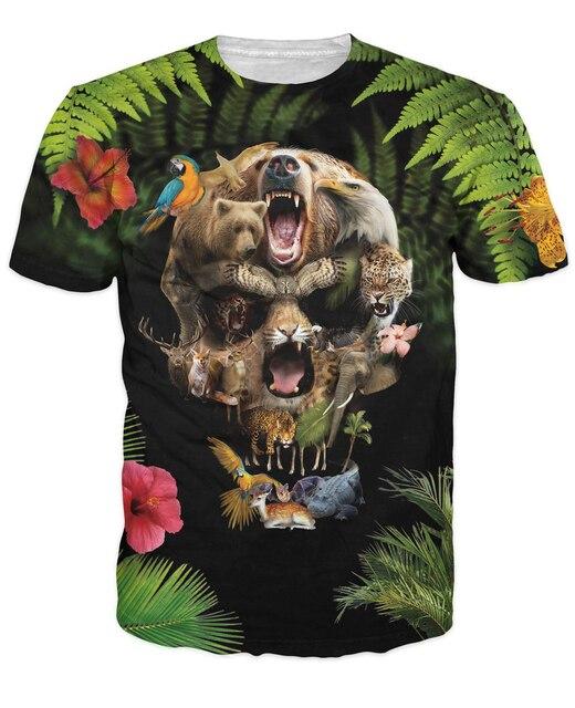 1e75022c Jungle Skull T-Shirt skull made by wild animals insane vibrant tee Women/Men  Hipster Summer Style tops t shirt Plus Size