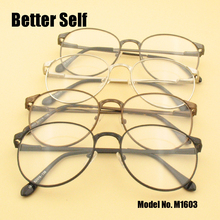 M1603 Full Rim Glasses Stylish Spectacles Spring Hinged Temple Retro Round Optical Quality Eyeglasses Frame Metal wpb1029 fashionable new design full rim uv400 sunglasses acetate optical frame bamboo temple