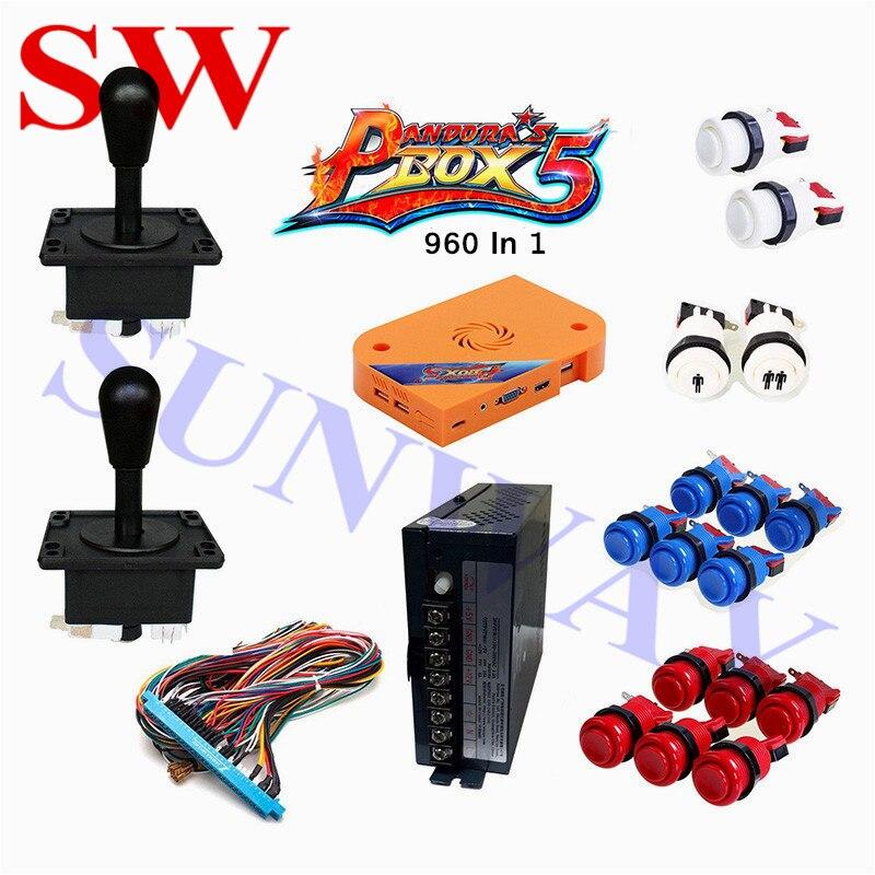 Kits d'arcade de bricolage classique 960 en 1 pièces de Machine d'arcade avec bouton poussoir happ/joystick américain/alimentation/harnais Jamma