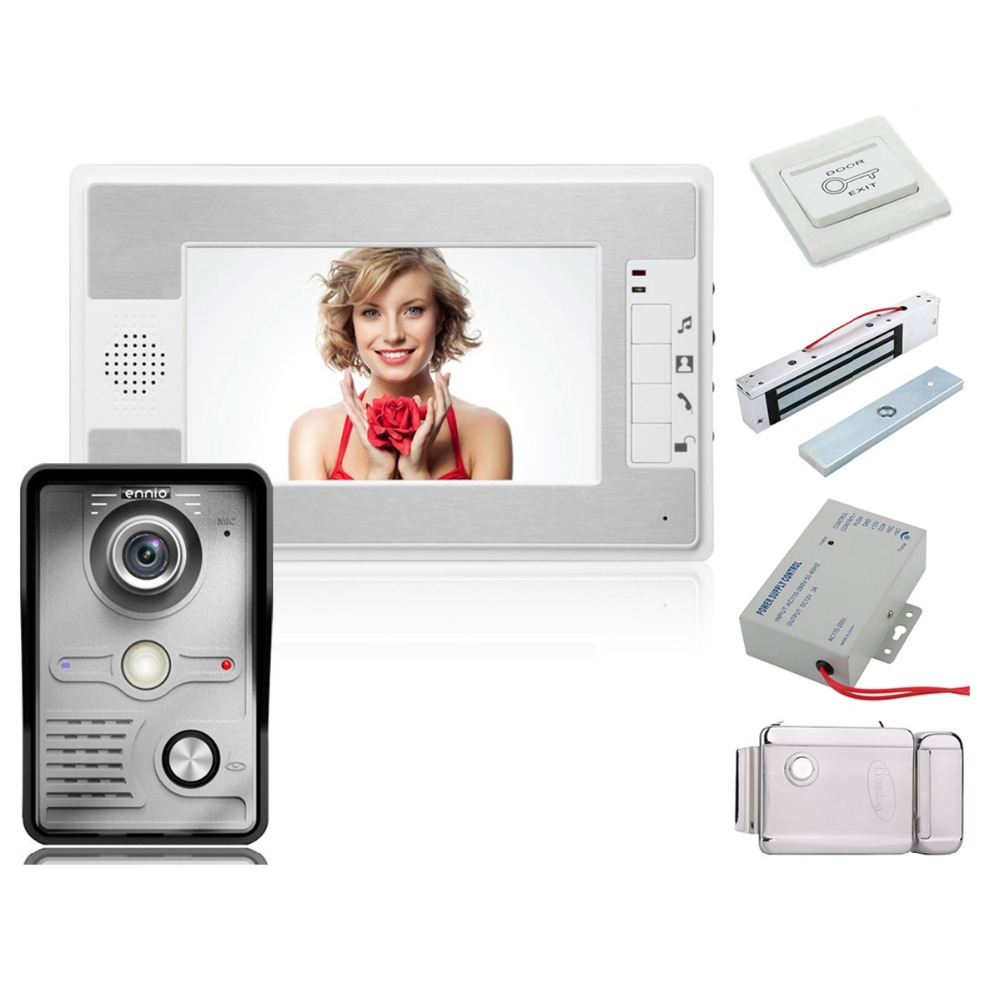 Home Security 7 Inch Video Door Phone Doorbell Intercom Kit 1-camera 1-monitor Night Vision+Electronic Locks Set