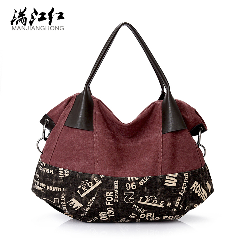Top Sale New Design Big Penelled Women Handbags High Quality Washed Cotton Canvas Women Bags Ladies Shoulder Bag Female Bag 1346