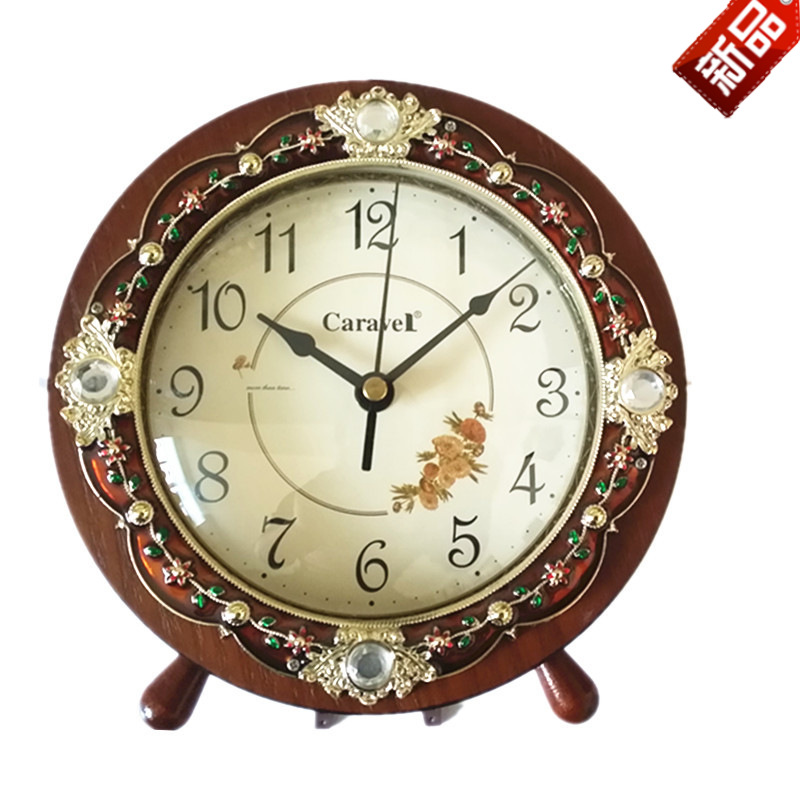 TUDA Free Shipping 8inch Fashion Korean Style Mute Table Clock Elegant Carving Wooden Desk Clock for Living Room Bedroom Clock