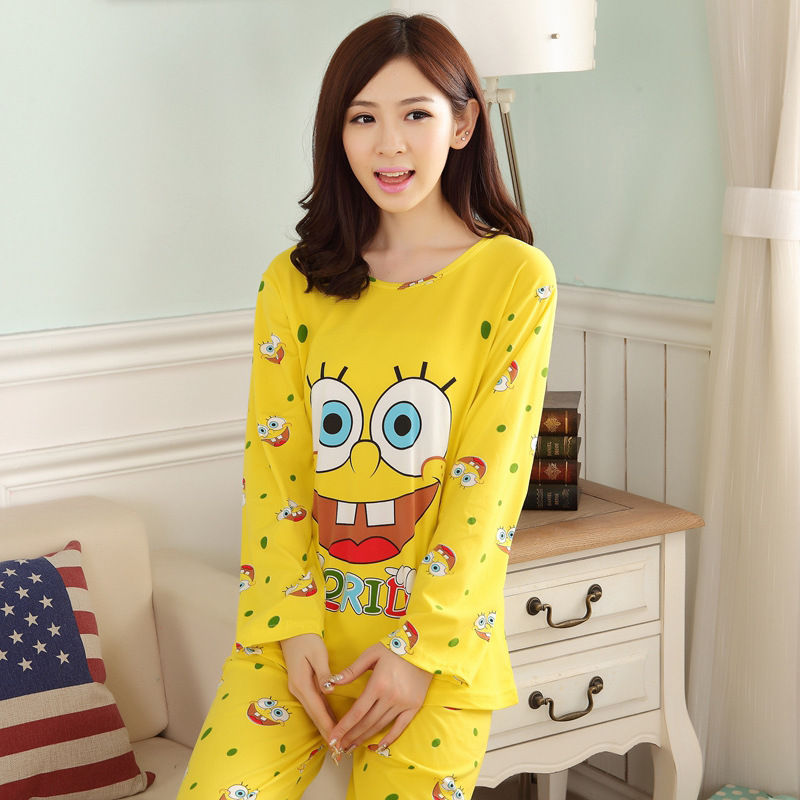 Hot Sale Womens   Pajamas     Sets   2016 Casual Long Sleeve O-Neck Lady Cotton   Pajamas   Women Autumn Sleepwear Girl Pattern Nightwear