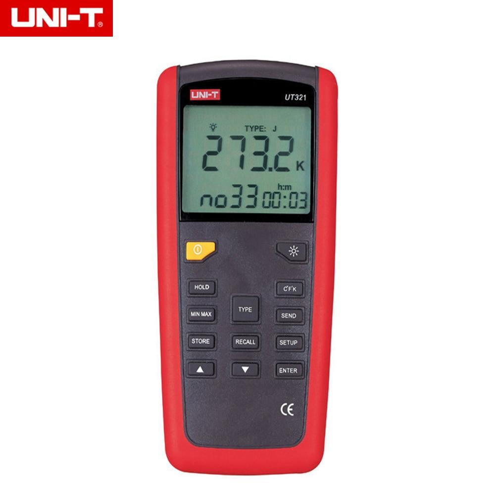 UNI-T UT321 USB Interface K/J/T/E Type Digital Temperature Thermometer mastech ms6514 dual channel digital thermometer temperature logger tester usb interface 1000 set data k j t e r s n thermocouple