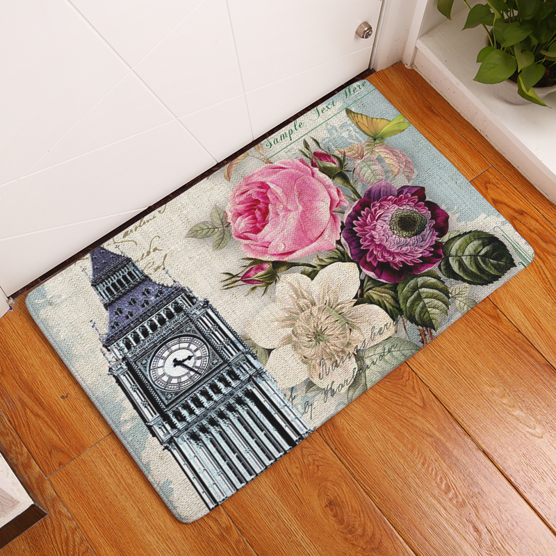Doormat Carpets Retro Architecture Flowers Print Mats