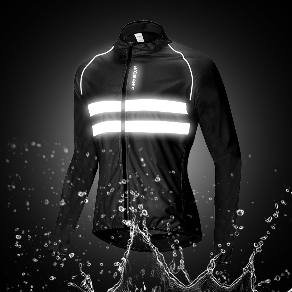 WOSAWE High Visibility Men's Cycling Jackets MTB Bike Sports Windbreaker Lightweight Reflective Water Resistence Rain Coat M-3XL