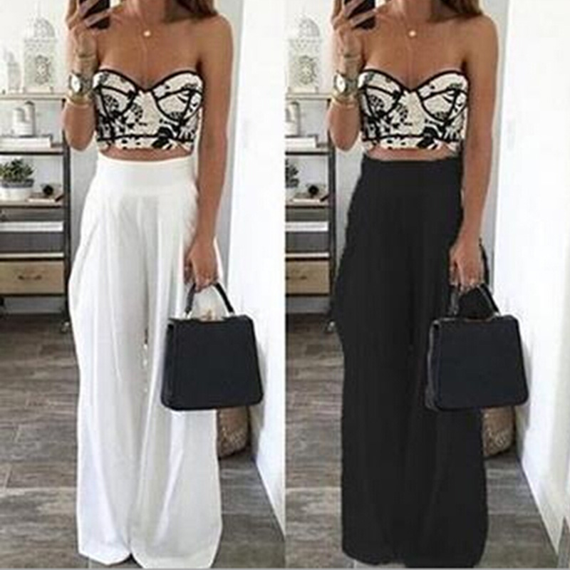 Daddy Chen Summer Women High Waist Wide Leg Pants Sexy Fashion Loose Side Zipper Pockets Chiffon Black White Trousers Party 2017